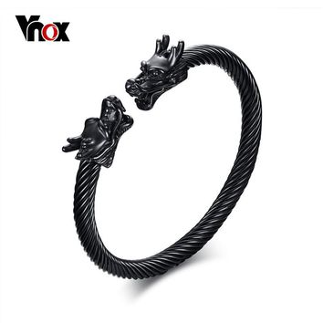 Vnox Dragon Head Cuff Bracelet Bangle for Men Stainless Steel Twisted Wire Viking Vintage Male Jewelry