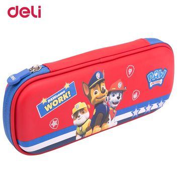 Deli paw patrol waterproof pencil case kawaii large capacity multifunction student pencil box school office stationery supplies