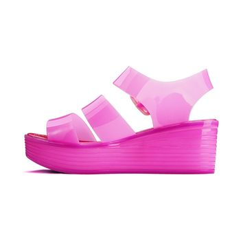 Chemistry® Women's Jelly Platform Wedge Heel Sandals Adjustable Strap Upper Low Top Shoes