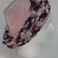 Hand Knit Beret Hat  Plum and Mauve  Fall Fashion  by Shelly6262