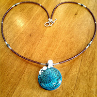 Blue & White Spiral Lampwork Glass Bead Pendant on Beaded Necklace with Hematite