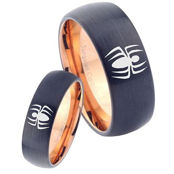 His Hers Spidermans Dome Tungsten Rose Gold Mens Promise Ring Set