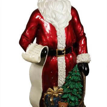 "48"" Commercial Size Santa Claus with List and Gift Sack Christmas Display Decoration"