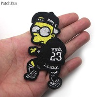 5pcs/lot Patchfan The Simpsons Cartoon Iron on Patches Clothing diy Embroidered badges Sewing Applique Patchworks stickers A0819