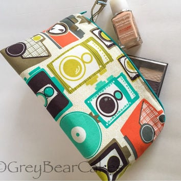 Cosmetics bag/Toiletry Case in Jeweled Cameras by Michael Miller - zippered bag fully lined - Pencil Case/ Pen Case