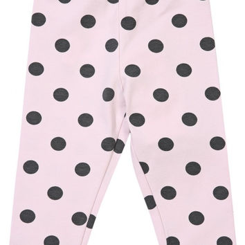 Monnalisa - Baby Girls Grey Polka Dot Leggings, Pink - 24M