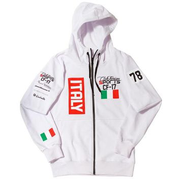ONETOW Club Foreign Sports Italy Series Hoodie Slim Fit White