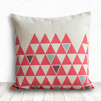 Pillow Cover, Geometric Pillow, Triangle Pillow Cover, Linen Pillow Cover 18x18 - Printed Geometric - 138