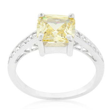 Barrie Canary Yellow Princess Solitaire Engagement Ring | 2.5ct | Cubic Zirconia | Silver