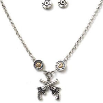 Six Shooter & Winchester Auto Necklace and Earring Set