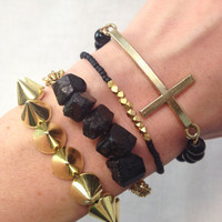 Gold Spike and Cross Bracelet Stack Set