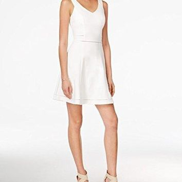 Bar III Crochet-Trim Fit & Flare Dress