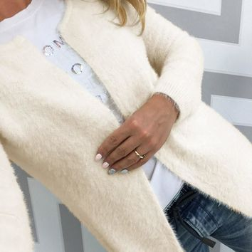 Open Front Fuzzy Cardigan Sweater