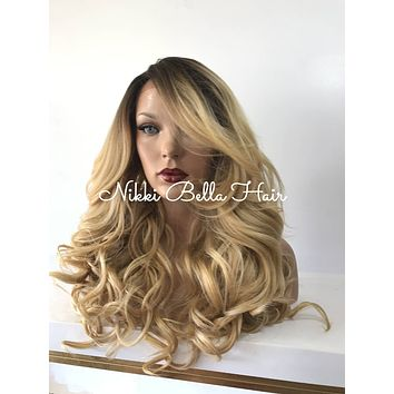 Root Platinum Blond curls lace front wig 22'