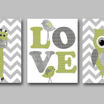 Owl Decor Giraffe Nursery Baby Boy Nursery Decor Children Art Print Baby Nursery Print Nursery Print Boy Art set of 3 Owl Nursery Gray
