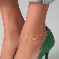 Anklet, Love Anklet, Gold Plated Anklet, Womens Accessories,  Body Jewelry, Anklets