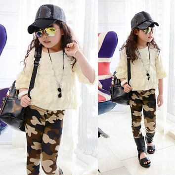 Girl Baby Kids Camouflage Casual Pants Child Legging Stretch Slim Legging Trousers