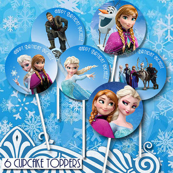 Frozen - Cupcake Toppers - High Quality 300 DPI- Customized -Party Printables