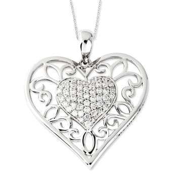 Sterling Silver Antiqued CZ Daughter Sentimental Expressions Necklace