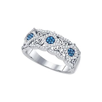 10kt White Gold Womens Round Blue Colored Diamond Cluster Filigree Band Ring 3/8 Cttw