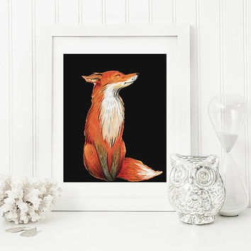 printable art Fox print,Fox Printable Art Print Nursery Fox Decor Woodland Animal Wall Art,FOX,fox, fox print, fox painting, red fox, fox