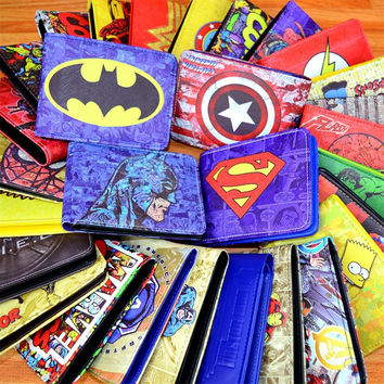 COMICS DC MARVEL THE AVENGERS HULK/IRON MAN THOR/CAPTAIN AMERICA/SUPERMAN PURSE LOGO CREDIT OYSTER LICENSE CARD HOLDER WALLET