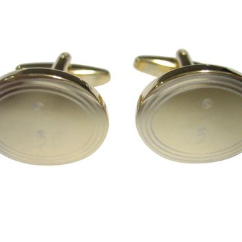 Gold Toned Etched Oval Semicolon Sign Cufflinks