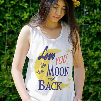 T Shirts for Teens Love You to the Moon and Back Hipster Graphic Tank Top Cute Womens Tops Clothing