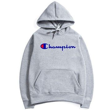 Champion flame men and women long sleeve sets F Gray