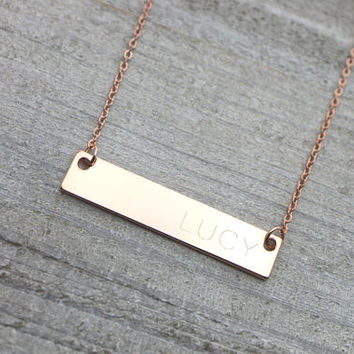 Double sided personalized rose gold bar necklace