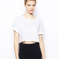 Monki | Monki Oversized Crop Top at ASOS
