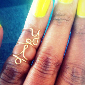 YOLO ring- Gold or Silver YOLO gold wire wrapped rings, knuckle rings, custom jewellery