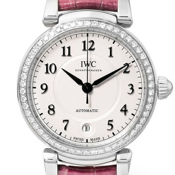 IWC SCHAFFHAUSEN - Da Vinci Automatic 36 alligator, stainless steel and diamond watch