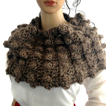 Outlander Claire Cowl Scarf Brown Black Bulky Warm Scottish Winter accessories Circle Scarf Crocheted Neckwarmer FREE SHIPPING