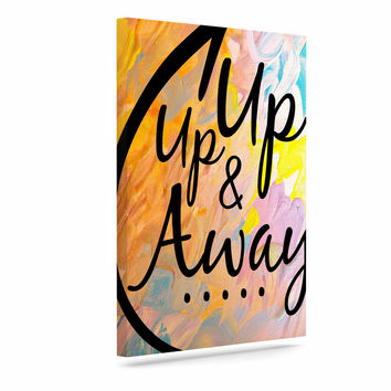 "Ebi Emporium ""Up Up & Away"" Orange Typography Canvas Art"