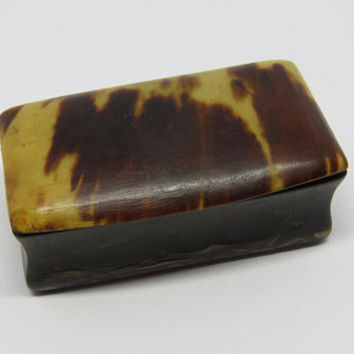 Antique French, Tortoiseshell And Horn, Snuff Box