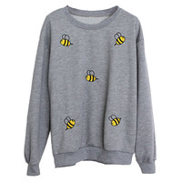 Bee Printed Long Sleeve Pullover Sweatshirt