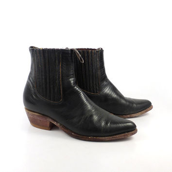 Boots Ankle Vintage 1980s Short Western Leather Cowboy Men's size 9 1/2 Faux Lizard Black