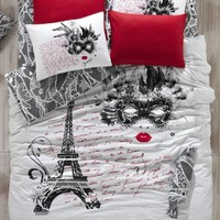 100% Cotton 3pcs Paris the Mask Single Twin Size Duvet Cover Set Eiffel Theme Bedding Linens