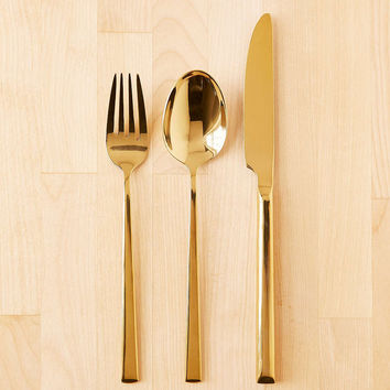 12-Piece Metallic Flatware Set - Urban Outfitters