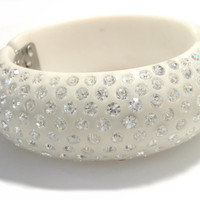 WEISS Hinged Bracelet Crystal Studded Celluloid Thermoset Plastic Cuff, Clamper, Bangle