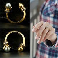 Gift Shiny New Arrival Jewelry Stylish Glass Pearls Rivet Accessory Ring [4989658820]