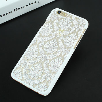 White Luxury Hard Plastic Damask Vintage Flower Pattern Back Case Cover for iPhone 4 4s 5 5s SE 6 6s 6 Plus 6s Plus 7 & 7 Plus