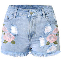 Rose Embroidered Light Blue Shorts LAVELIQ