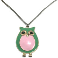 Owl necklace, Green and Pink Jewelry Pendant, Friend Bridesmaid Aunt Wedding Bachelorette Anniversary High Quality Gift, Charity