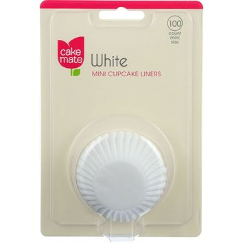 Cake Mate Cupcake Liners - White - Mini - 100 Count - Case Of 8