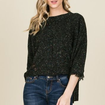 Fall Sweater Confetti Destroyed - Black