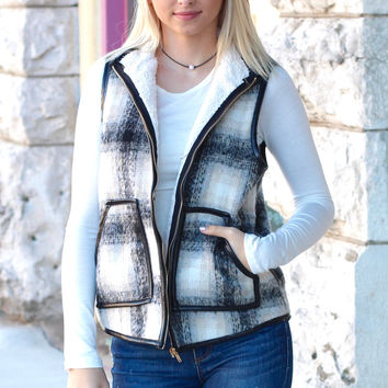 Ski Bunny Plaid Vest with Faux Leather Piping {Black Mix}