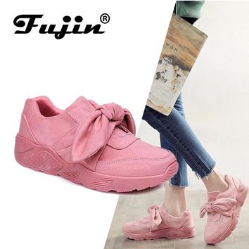 Fujin Woman Casual Shoes Bow Tie Ladies Flats For Women Silk Moccasins Sneakers Female Round Pink Shoes Woman Dapato Feminino
