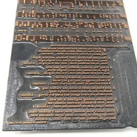 Antique Metal Sheet Music Engraving Printing Plate - William Walsham How - For All Thy Saints Vaughan Williams - English Hymnal Oxford